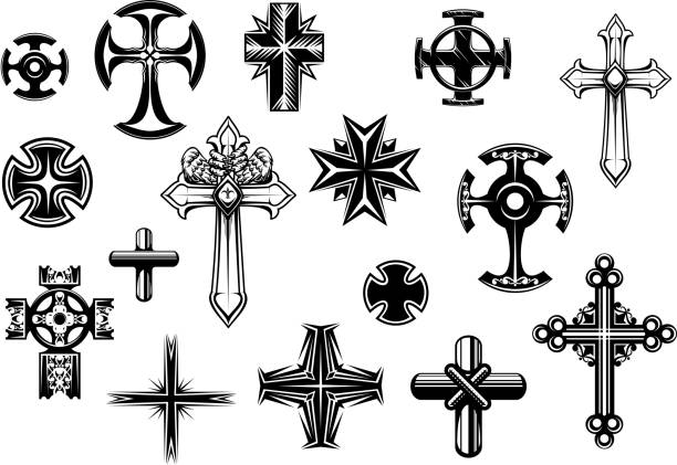 religious crosses set - celtic tattoos stock illustrations, clip art, cartoons, & icons
