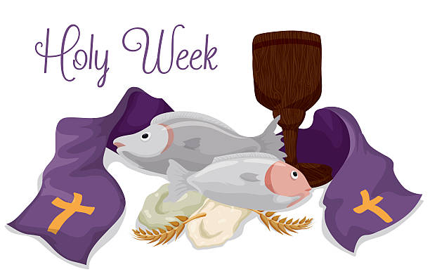 Religious Elements of Catholic Lent Fishes, breads, wooden chalice, ears of wheat and a purple stole of Catholic Lent holiday. lent stock illustrations