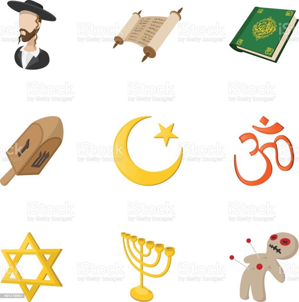 Conjunto de ícones de fé religiosa, estilo cartoon - ilustração de arte em vetor