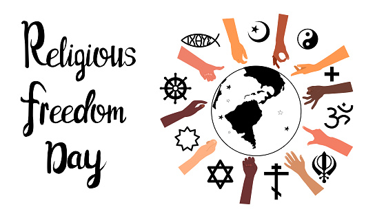 Religious Freedom day lettering poster.Human Solidarity.Hands different ethnicities in various gestures and spiritual symbols are around Planet Earth.