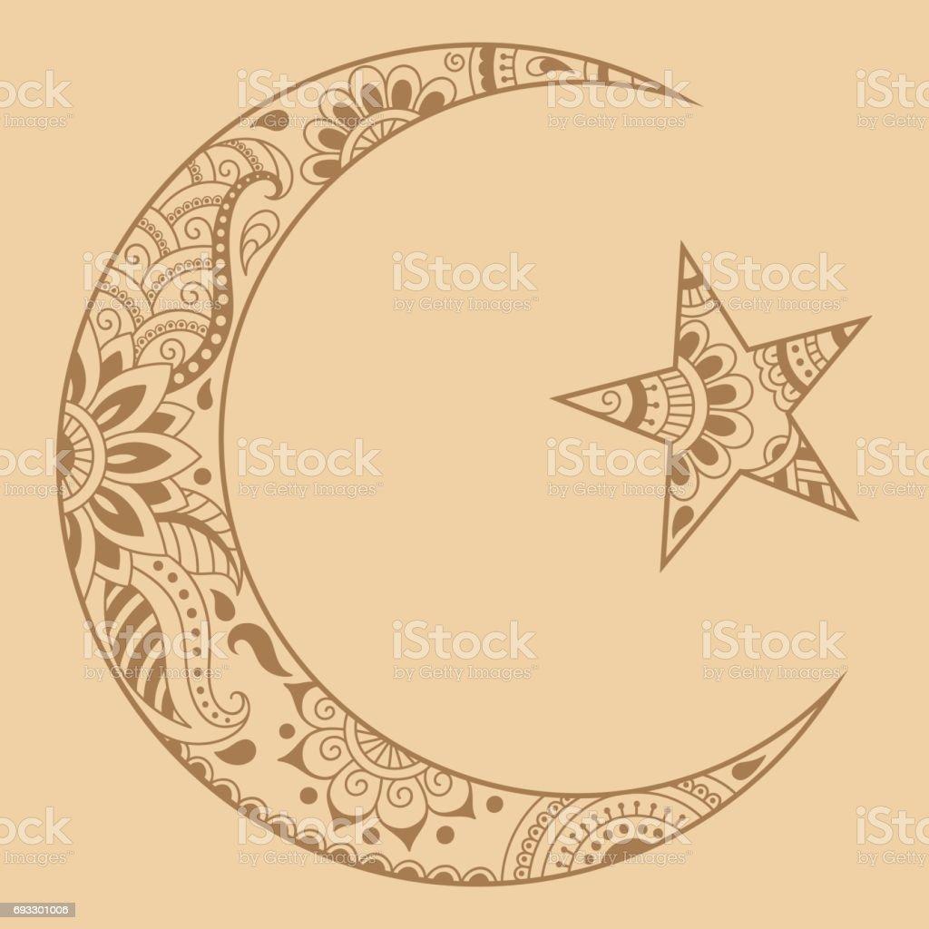 Ilustración De Símbolo Religioso Islámico De La Estrella Y La Media