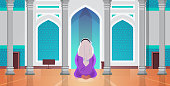 religious muslim man kneeling and praying inside mosque building ramadan kareem holy month religion concept rear view full length horizontal vector illustration
