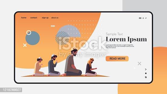 religious muslim men kneeling and praying on carpet ramadan kareem holy month religion concept full length horizontal copy space vector illustration