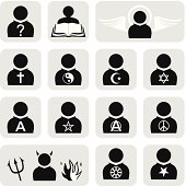 Set of religious people icons