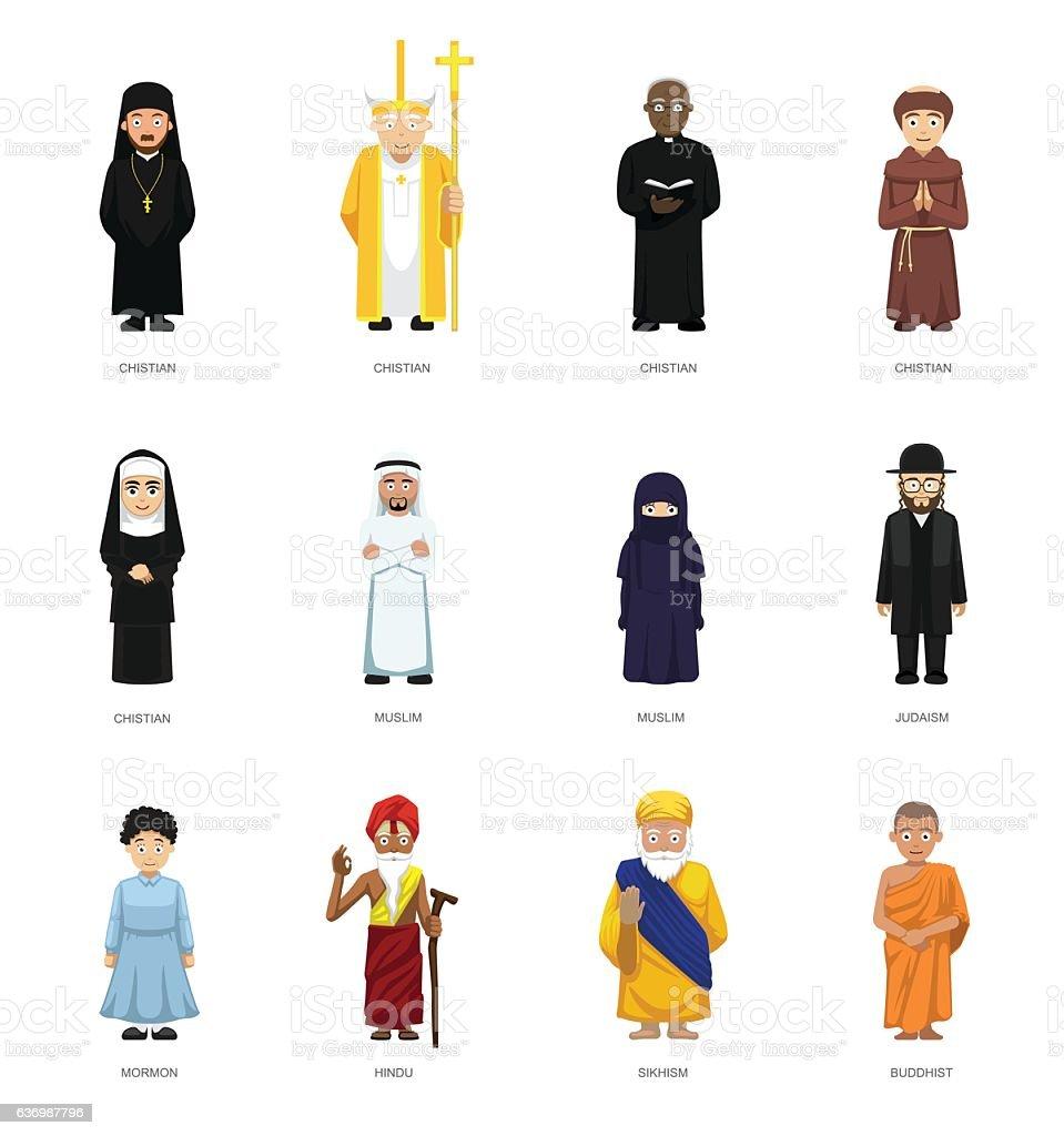 Religious People Cute Cartoon Characters Set - ilustración de arte vectorial
