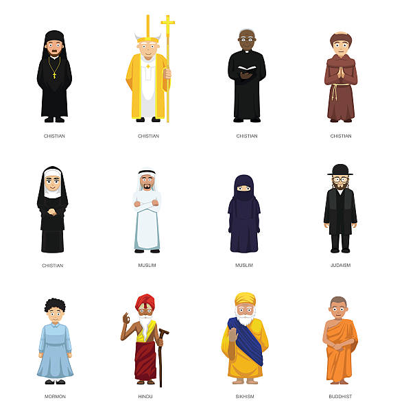 ilustraciones, imágenes clip art, dibujos animados e iconos de stock de religious people cute cartoon characters set - hermano