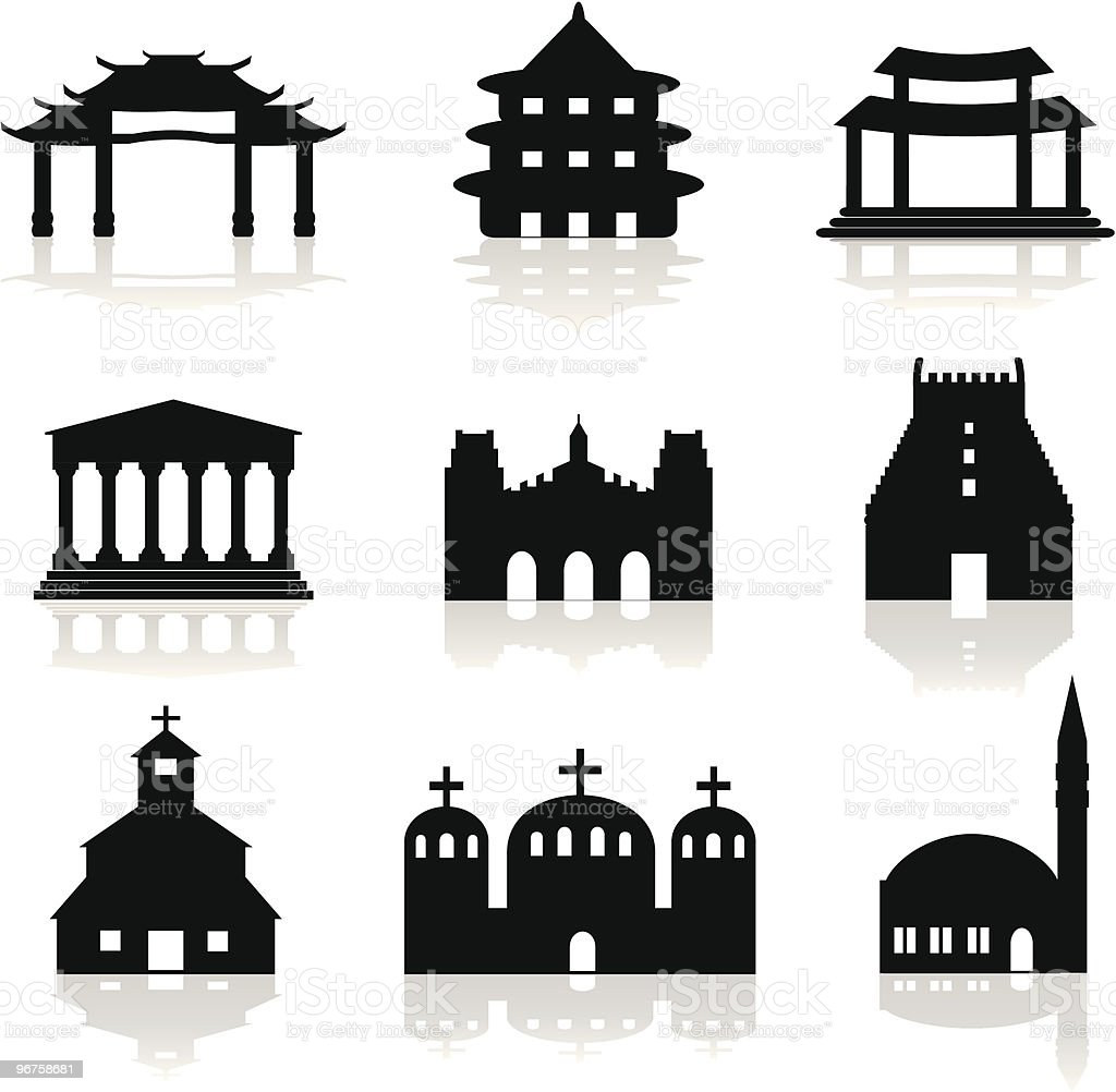 religious shrines, churches and mosque illustration royalty-free stock vector art