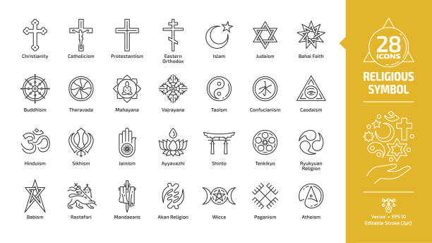 Religious symbol editable stroke outline icon set with christian cross, islam crescent and star, judaism star of david, buddhism wheel of dharma, taoism yin and yang religion line sign. Religious symbol editable stroke outline icon set with christian cross, islam crescent and star, judaism star of david, buddhism wheel of dharma, taoism yin and yang religion line sign. religious symbol stock illustrations