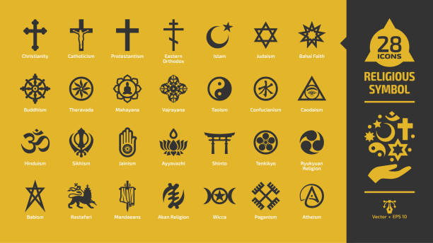 Religious symbol icon set on a yellow background with christian cross, islam crescent and star, judaism star of david, buddhism wheel of dharma, rastafari lion religion glyph sign. Religious symbol icon set on a yellow background with christian cross, islam crescent and star, judaism star of david, buddhism wheel of dharma, rastafari lion religion glyph sign. religious symbol stock illustrations