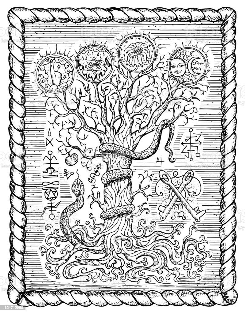 Religiöse Symbole Als Baum Der Erkenntnis Im Rahmen Stock Vektor Art ...