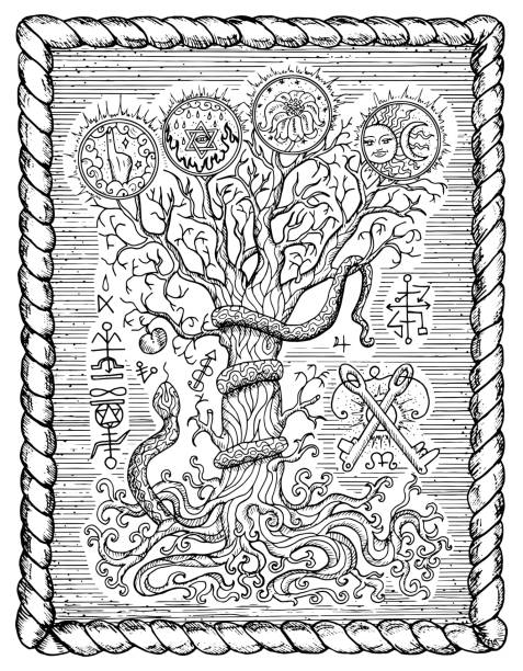 religious symbols as tree of knowledge in frame - freemasons stock illustrations