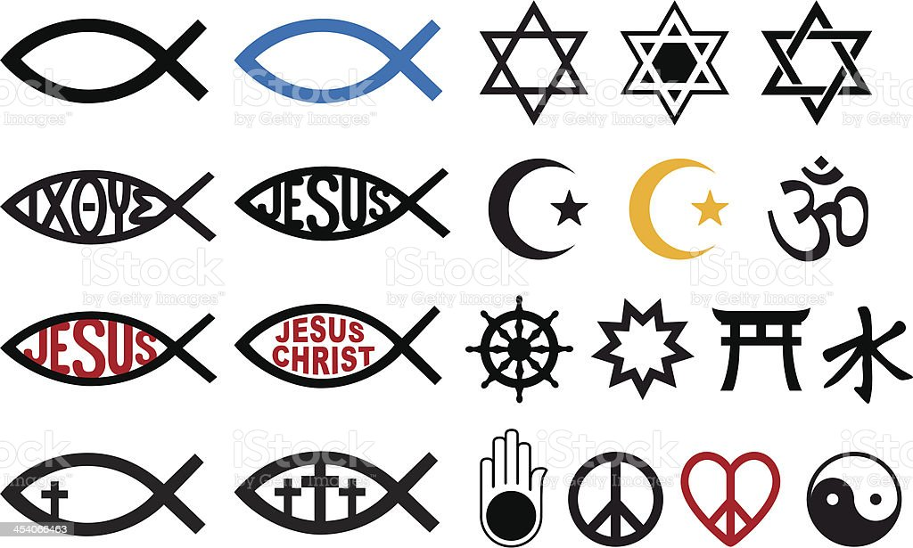Religious Symbols Religion Signs Vector Set Stock Vector Art More