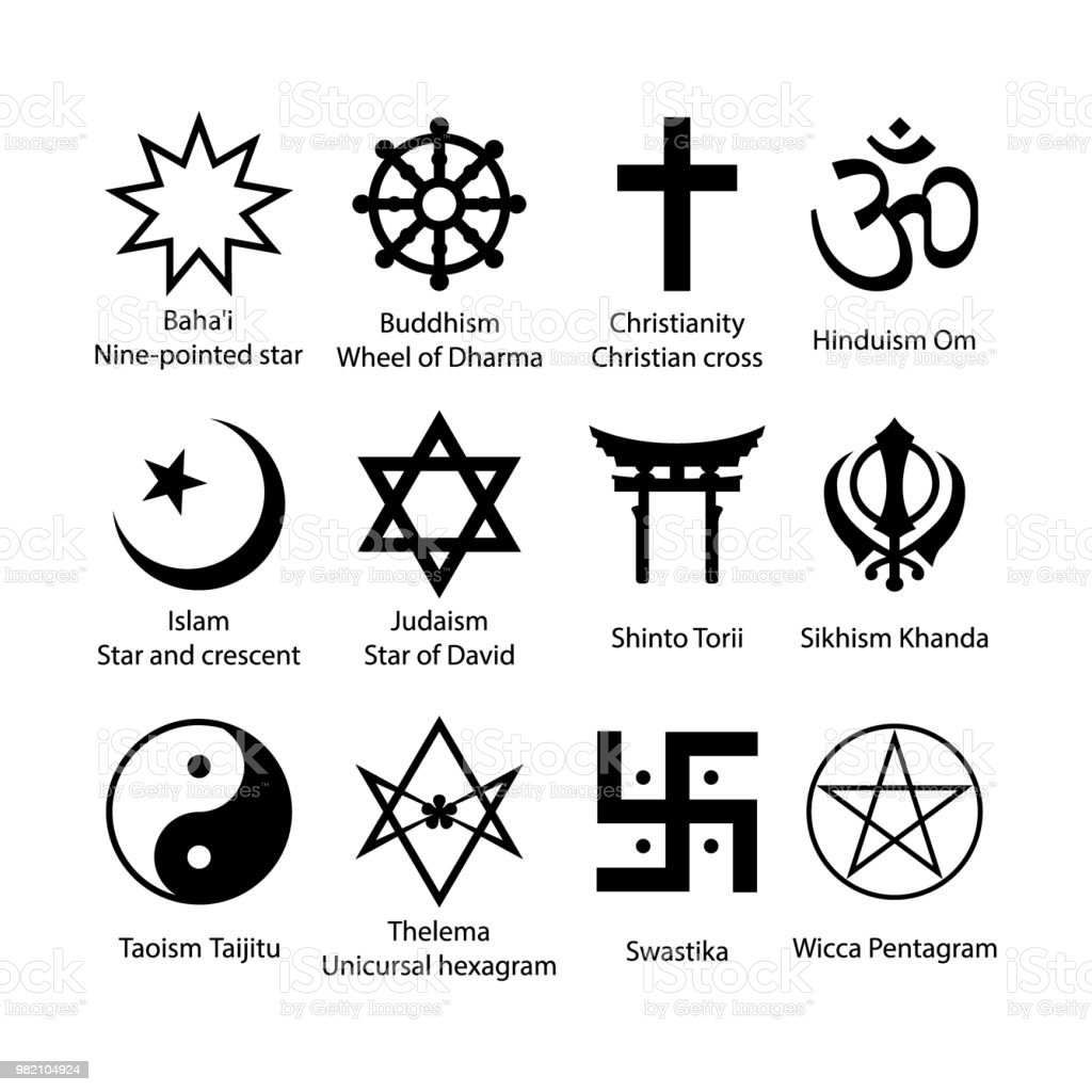 Religious Symbols Set Religion Signs Simple Black Icon Set Stock