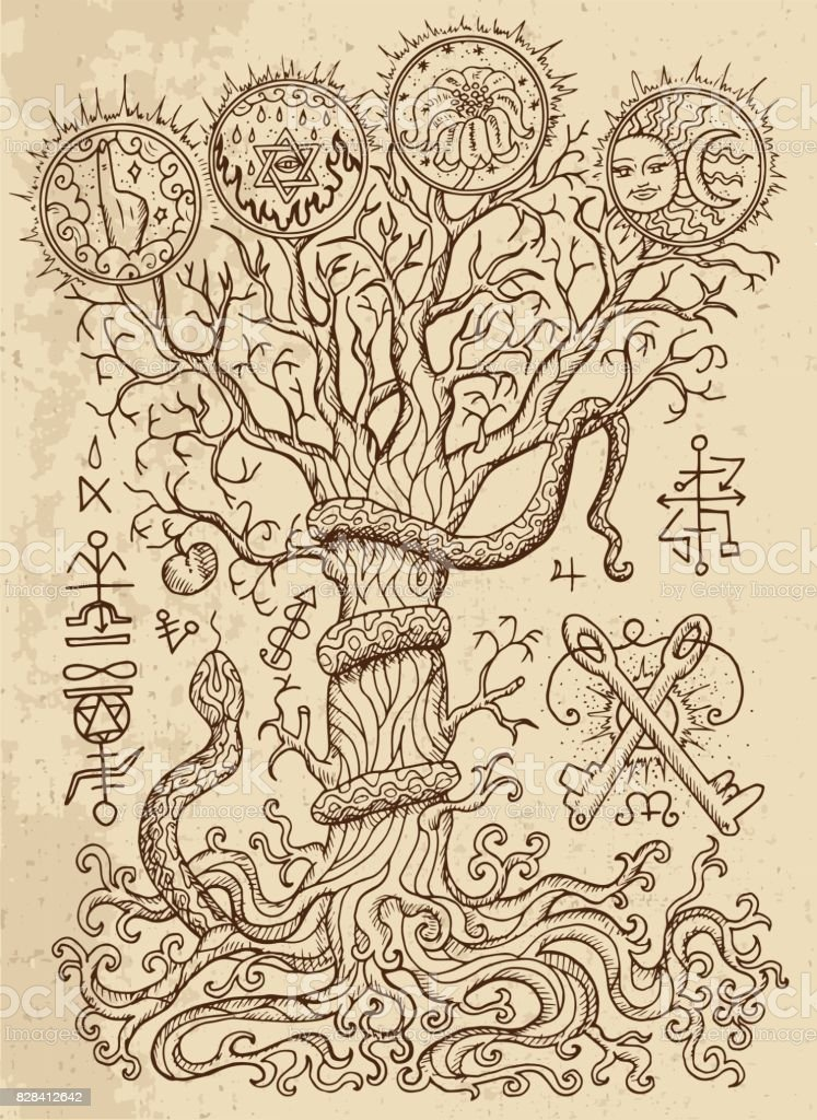 Religious symbols, tree of knowledge and forbidden fruit on texture vector art illustration