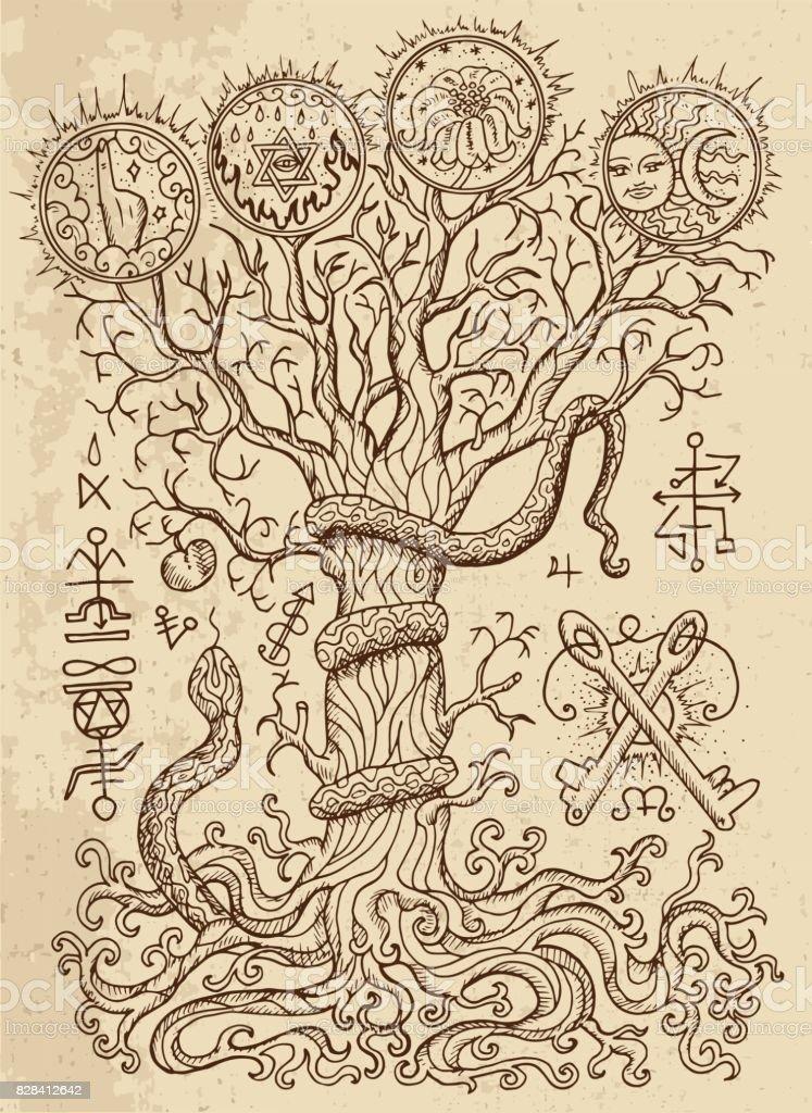 Símbolos religiosos, el árbol del conocimiento y la fruta prohibida en textura - ilustración de arte vectorial