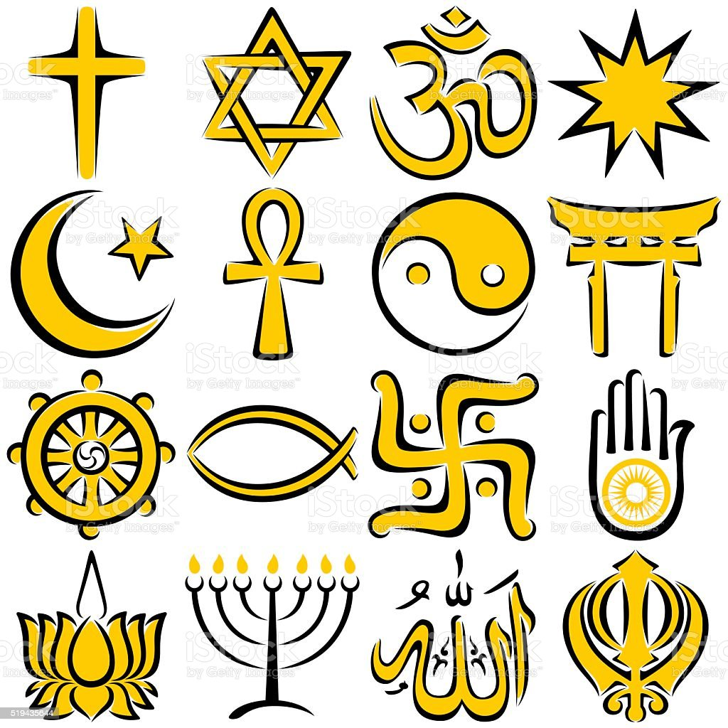 Religious Symbols vector art illustration