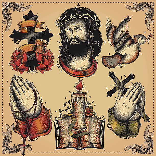 religious tattoo flash - fire tattoos stock illustrations, clip art, cartoons, & icons