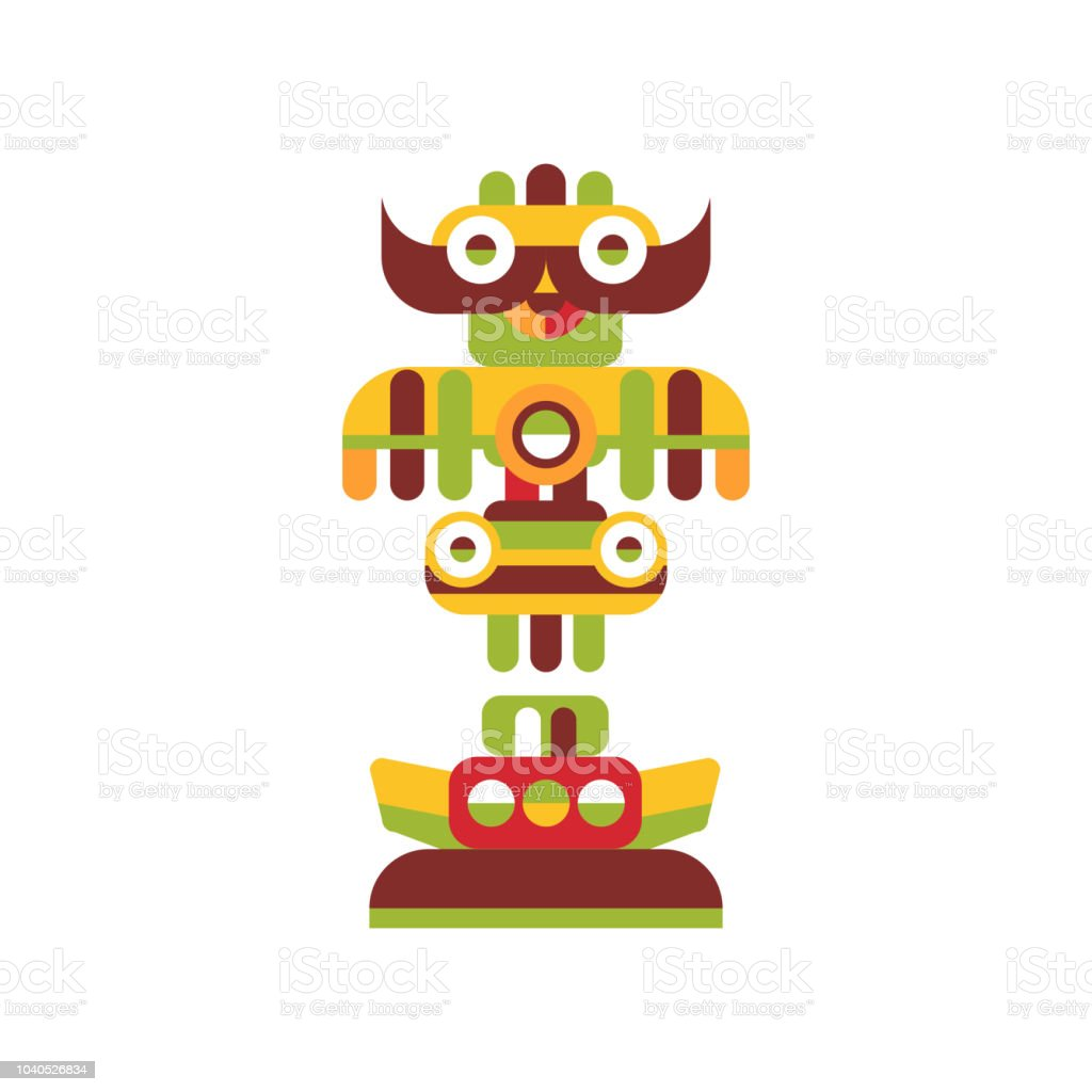 Religious Totem Pole Colorful Native Cultural Tribal Symbol Vector