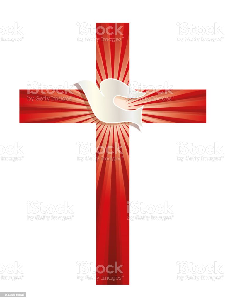 Religious Vector Symbol Christian Cross With Dove And Luminous Rays