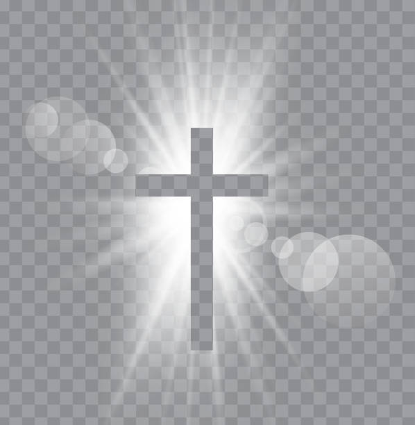 Religioush three  crosses with sun rays Religioush three  crosses with sun rays  transparent background lent stock illustrations