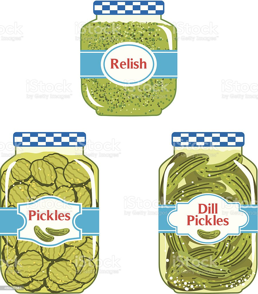 Relish & Pickles jars vector art illustration