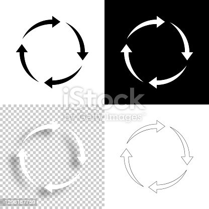istock Reload. Icon for design. Blank, white and black backgrounds - Line icon 1296187759