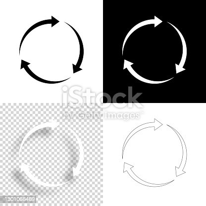 istock Reload. Icon for design. Blank, white and black backgrounds - Line icon 1301066469