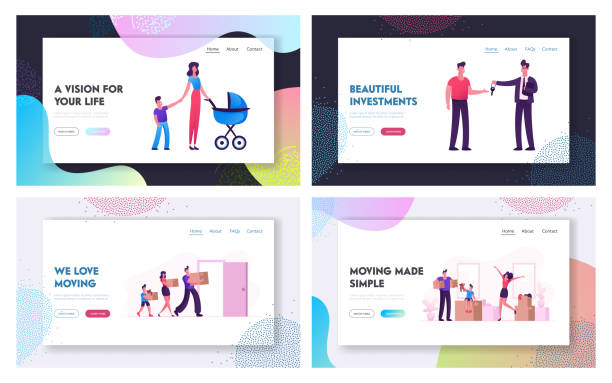 relocation and moving to new house website landing page set. web page banner. man selling or renting house to couple with children, happy family carry boxes to home cartoon flat vector illustration - new home stock illustrations