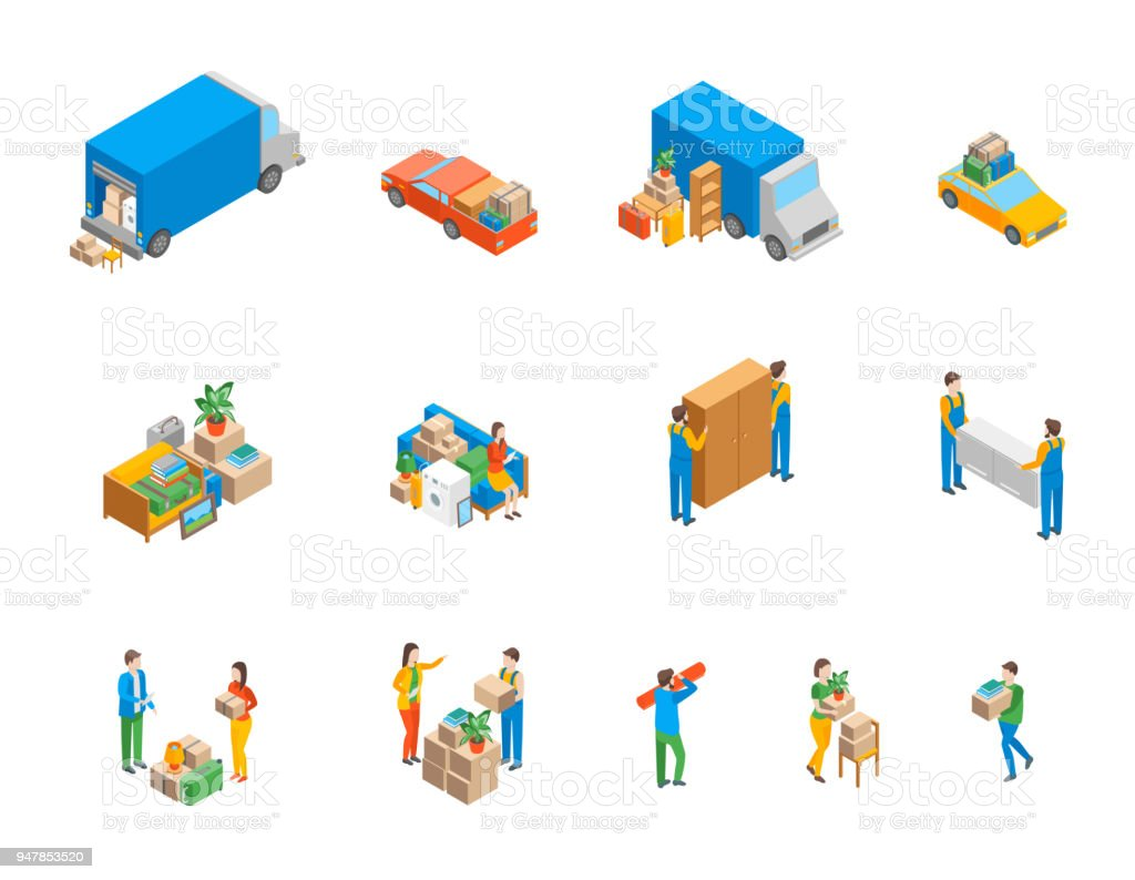 Relocation Service 3d Icons Set Isometric View. Vector