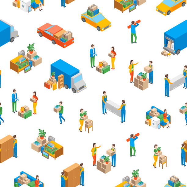 Relocation Service 3d Seamless Pattern Background Isometric View. Vector Relocation Service 3d Seamless Pattern Background on a White Isometric View Include of Transportation, Shipping Box or Container Package and Storage. Vector illustration samenwerking stock illustrations