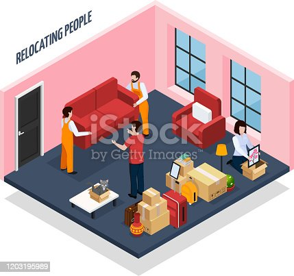 Relocating people isometric composition with loaders carrying sofa from apartment, stacked home stuffs in boxes vector illustration