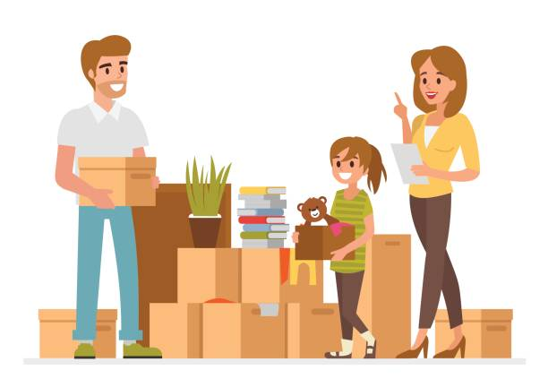 relocation - new home stock illustrations