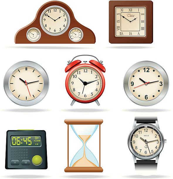 ilustraciones, imágenes clip art, dibujos animados e iconos de stock de relojes - wall clock