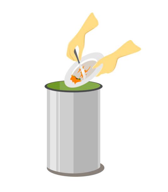ilustraciones, imágenes clip art, dibujos animados e iconos de stock de restos de residuos de alimentos se tiran en la papelera, ilustración, aislado sobre fondo blanco - leftovers