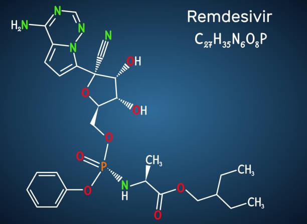 ilustraciones, imágenes clip art, dibujos animados e iconos de stock de remdesivir, gs-5734, molécula c27h35n6o8p. es un medicamento antiviral para el tratamiento del virus del ebola, en estudio como tratamiento para coronavirus 2019-ncov.  fórmula química estructural sobre el fondo azul oscuro - remdesivir