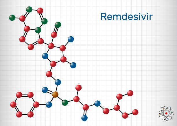 ilustraciones, imágenes clip art, dibujos animados e iconos de stock de remdesivir, gs-5734, molécula c27h35n6o8p. es un medicamento antiviral para el tratamiento del virus del ebola, en estudio como tratamiento para coronavirus 2019-ncov.  hoja de papel en una jaula - remdesivir