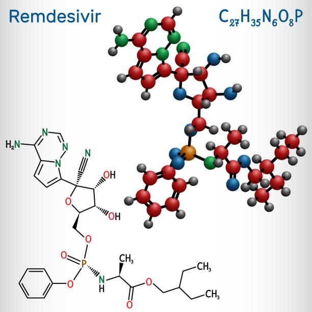 ilustraciones, imágenes clip art, dibujos animados e iconos de stock de remdesivir, gs-5734, molécula c27h35n6o8p. es un medicamento antiviral para el tratamiento del virus del ebola, en estudio como tratamiento para coronavirus 2019-ncov.  fórmula química estructural y modelo de moléculas - remdesivir