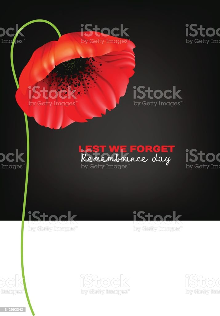 Remembrance Day greeting card vector art illustration