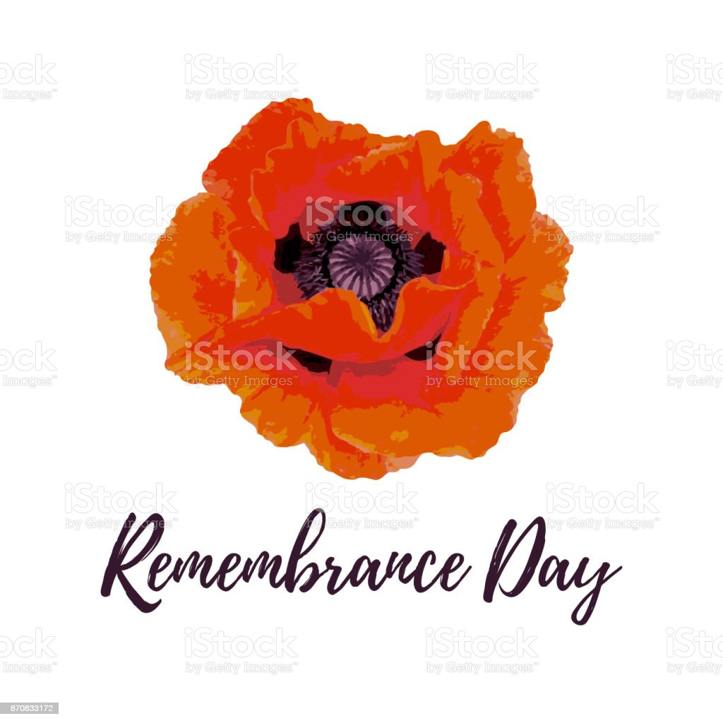 Remembrance Day greeting card. vector art illustration