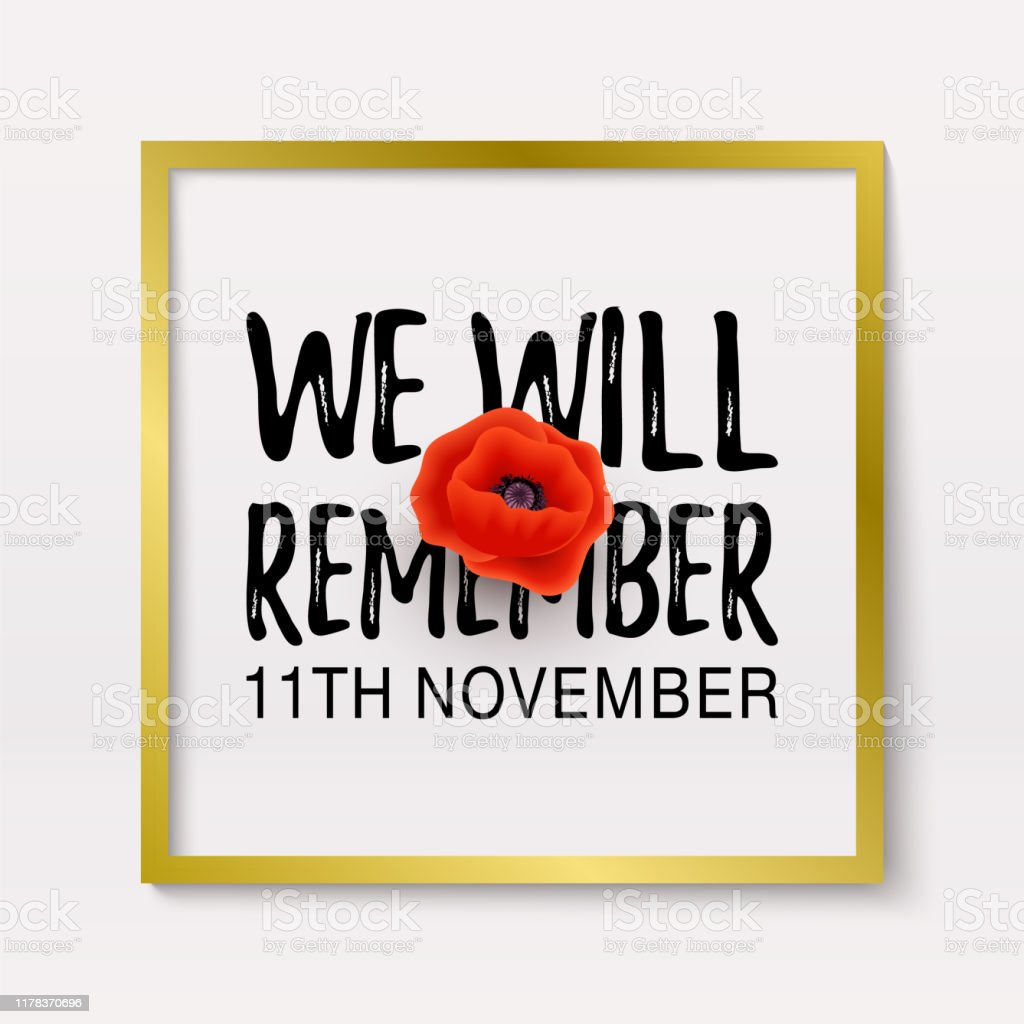 remembrance day poppy banner card we will remember quote th