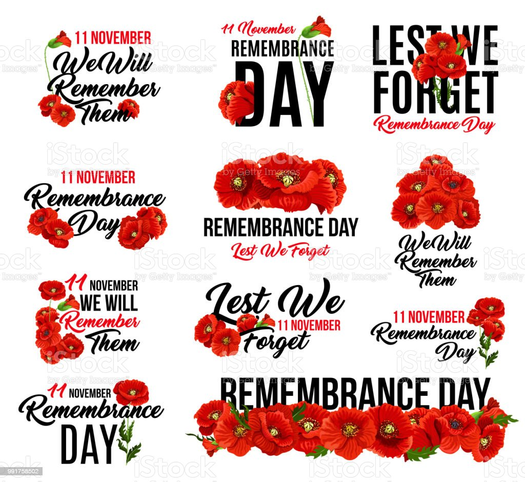 Remembrance Day Red Poppy Flower Icon Design Stock Vector Art More
