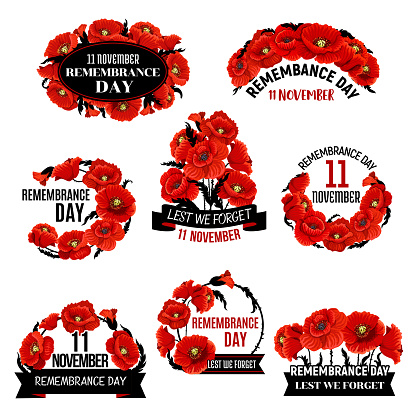 Remembrance Day red poppy flower wreath icon