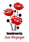 Vector illustration - Remembrance Day poster with red poppy flowers