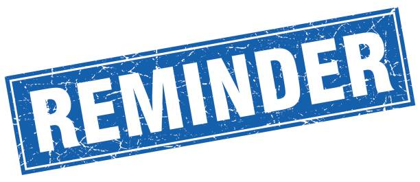 reminder blue square grunge stamp on white vector art illustration