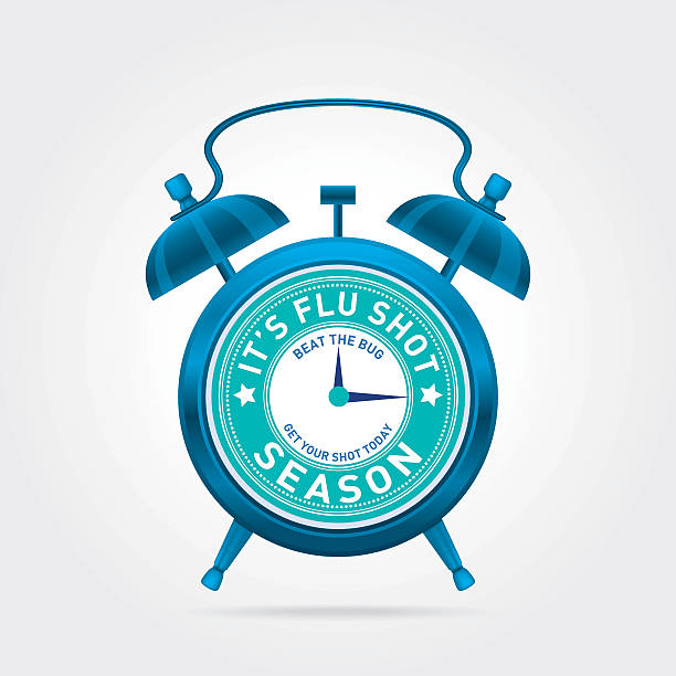 erinnerung uhr für grippe aufnahmen auf der weißen hintergrund poster-vorlage - grippeimpfung stock-grafiken, -clipart, -cartoons und -symbole