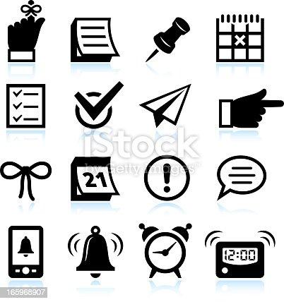 Reminder Icons and Widgets black & white icon set