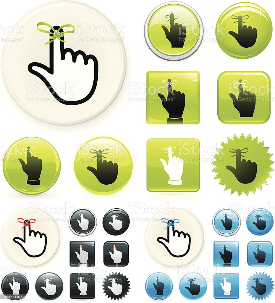 Reminder icons on buttons vector art illustration