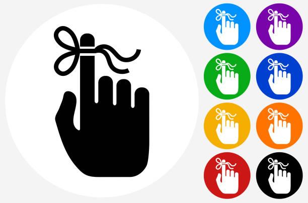 reminder knot on human hand. - reminder stock illustrations