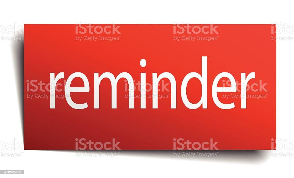 reminder red paper sign on white background vector art illustration