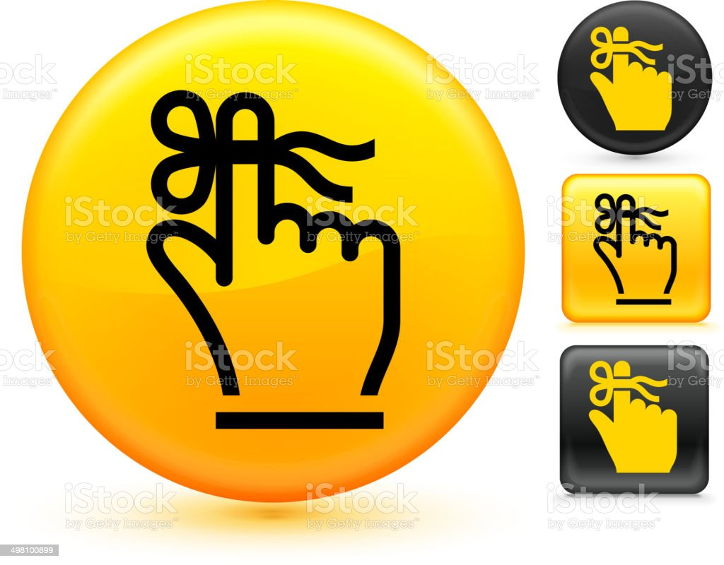 Reminder royalty free vector art on Yellow Button Set vector art illustration
